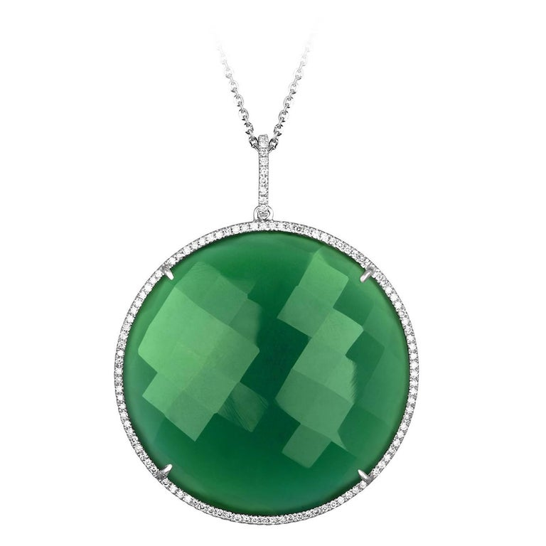 64.54 Carats Green Agate and Diamond Circle Gold Pendant Necklace For Sale