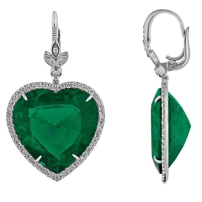 42 00 Carats Large Emerald Diamond Gold Heart Shaped Earrings For