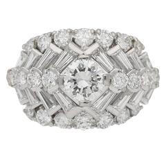 1960s Oscar Heyman Bros. Diamond Platinum Cluster Ring