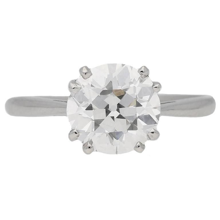 1950s 2.03 Carat Solitaire Old Cut Diamond Platinum Ring