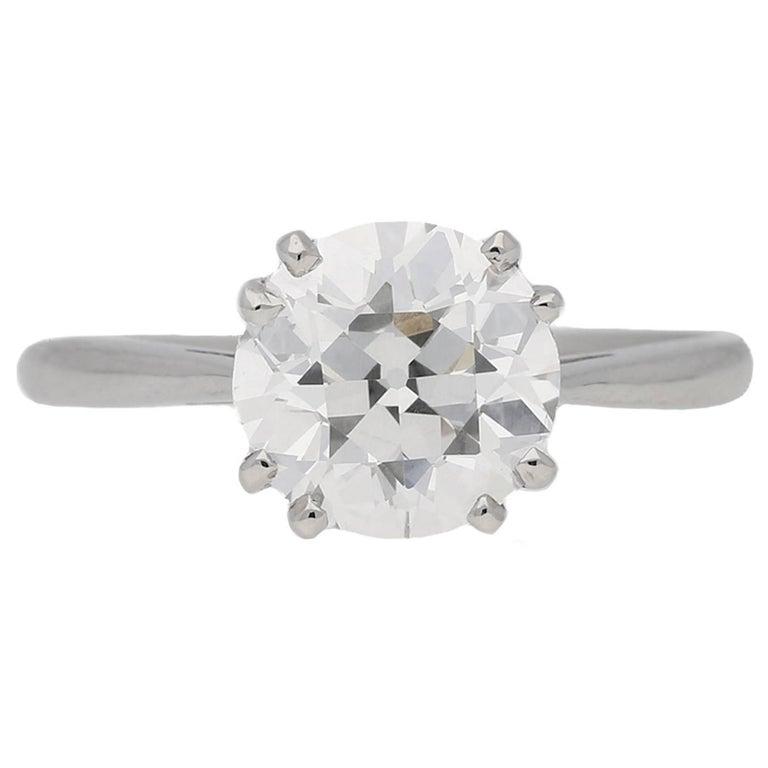 1950s 2.03 Carat Solitaire Old Cut Diamond Platinum Ring  For Sale