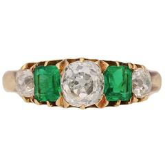 Antique emerald diamond gold 5 stone ring