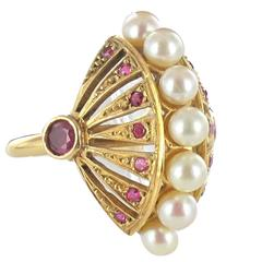 Ruby Pearl Gold Domed Ring