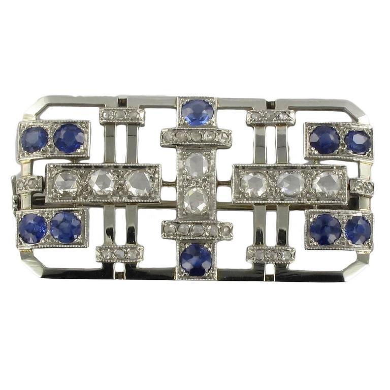 Art Deco Sapphire Diamond Gold Platinum Brooch