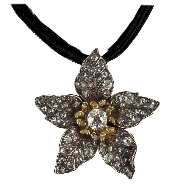 French Antique 19th Century Diamond Silver Gold Flower Pendant For Sale 8