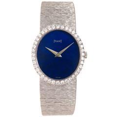Piaget Lady's White Gold Diamond Lapis Wristwatch
