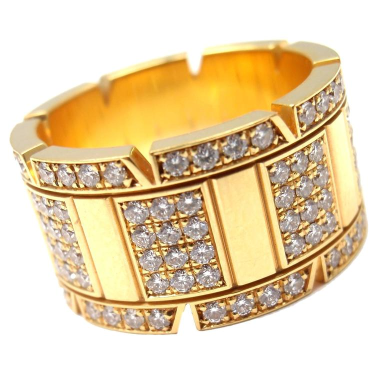 Cartier Large Model Tank Francaise Diamond Gold Band Ring For Sale