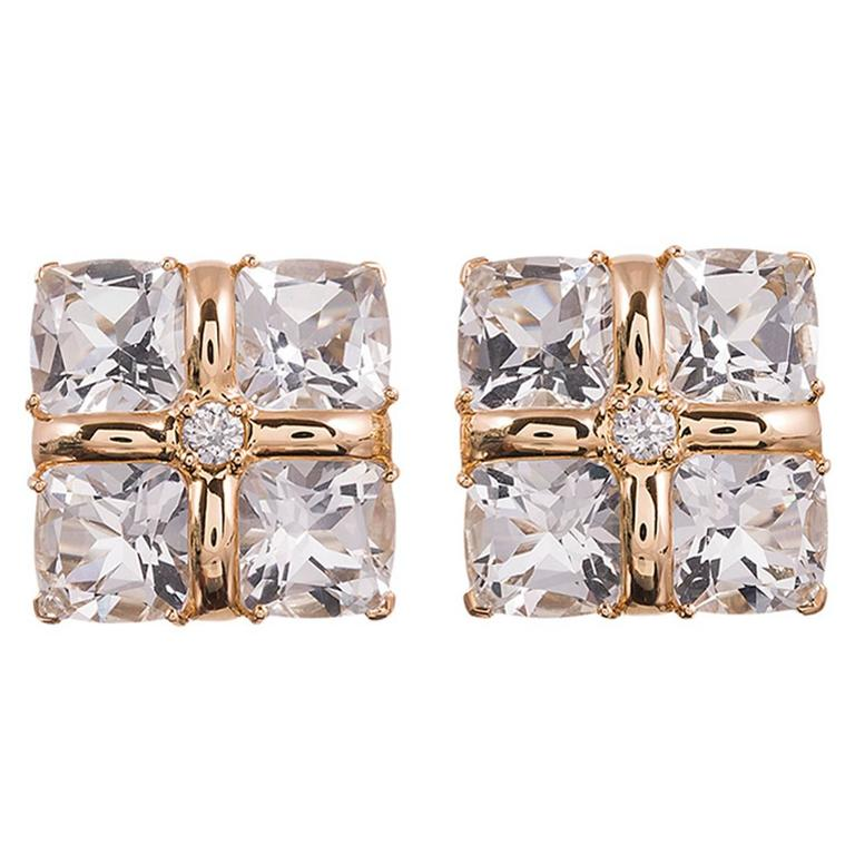 "Seaman Schepps Crystal Diamond Gold ""Four Square"" Earrings"