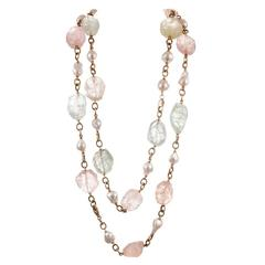55 Inch Baroque Pearl Rough Beryl Gold Link Chain