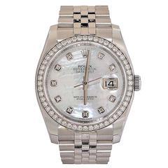 Rolex White Gold Stainless Steel  Diamond Datejust Wristwatch