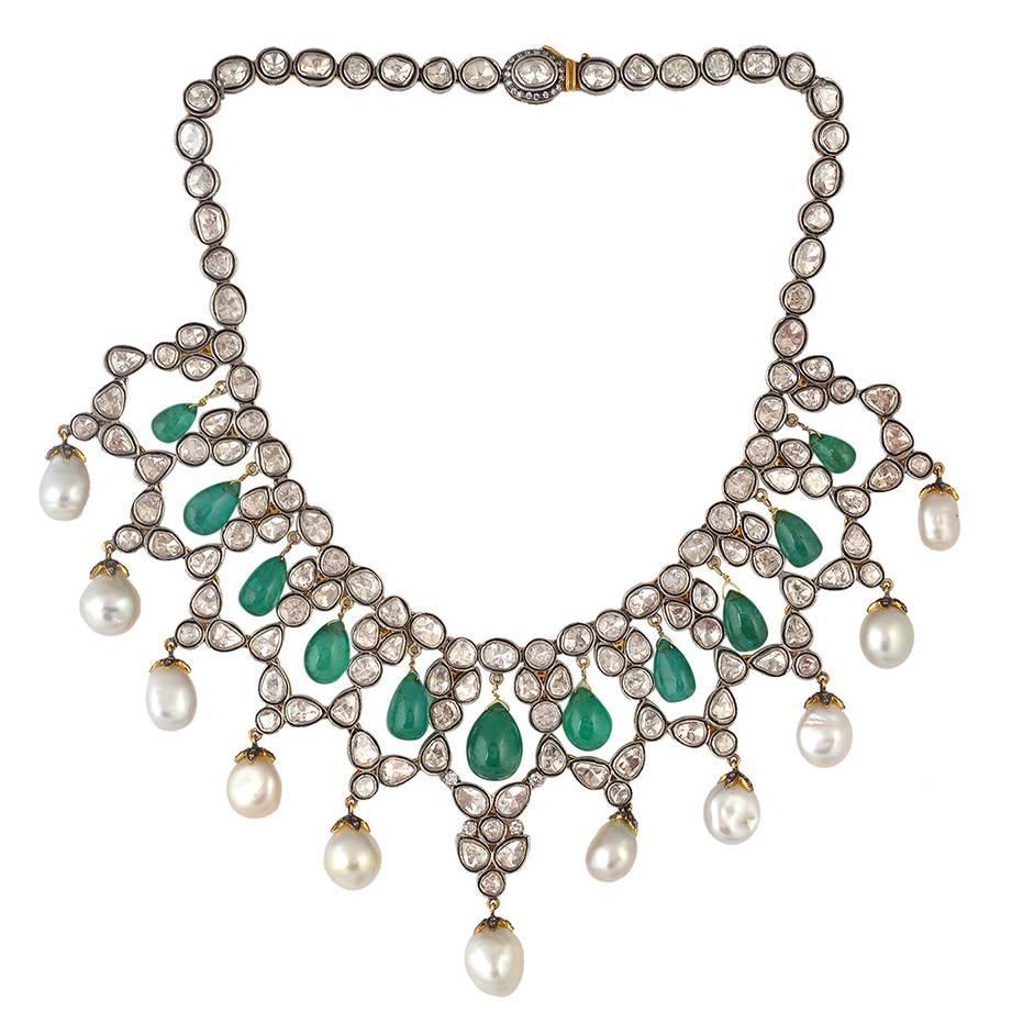Rosecut Pearl Emerald Diamond Necklace