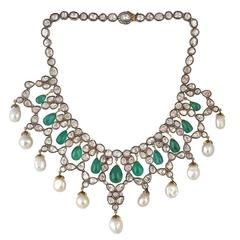 Rosecut Pearl Emerald Diamond Necklace