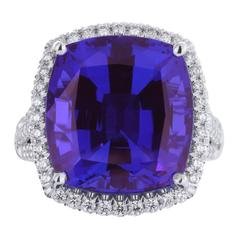 16.17 Carat Cushion Tanzanite Diamond Ring