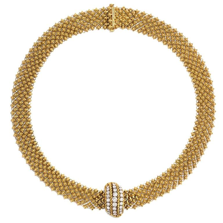 1950s French Woven Gold Necklace with Diamond Clasp