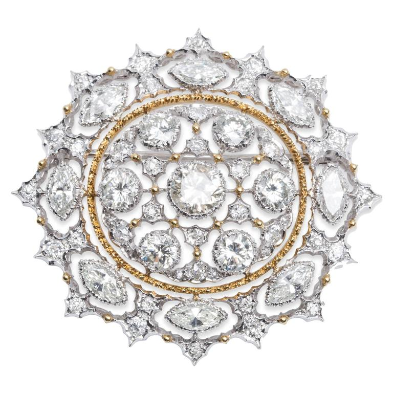 Buccellati Gold  Diamond Brooch Pendant 1