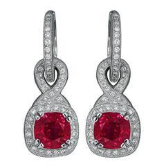 2.70ct Ruby Diamond Drop Earrings