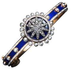 Antique Georgian Enamel Diamond Gold Pearl Bracelet