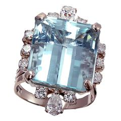 Aquamarine Diamond Cocktail Ring