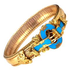 Victorian French Blue Enamel Gold Bracelet
