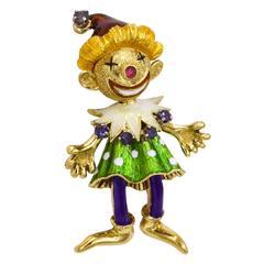 Martine Enamel Sapphire Ruby Clown Brooch