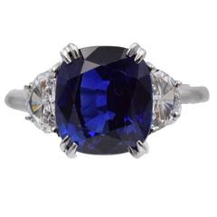 A.G.L. Certified  Sapphire Diamond Solitaire Ring
