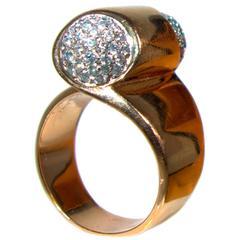 Bulgari Mid Century Diamond Gold Scroll Ring