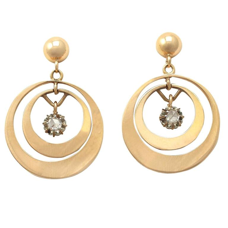 0.30Ct Diamond and 18k Yellow Gold Drop Earrings - Antique Circa 1930