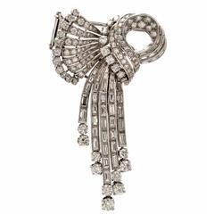Retro Diamond Platinum Ribbon Bow Pin