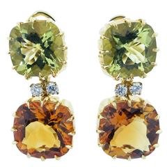 Seaman Schepps Citrine Diamond Gold Dangle Earrings