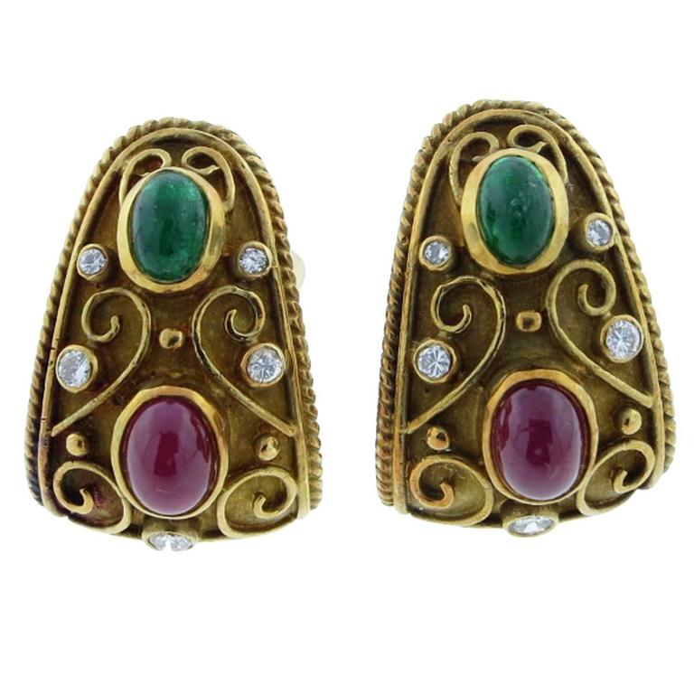 Cabochon Emerald Ruby Diamond Gold Earrings