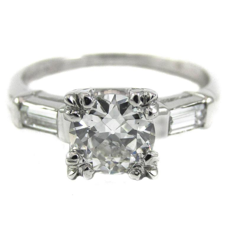0.91 Carat Old European Cut Diamond Platinum Engagement Ring 1