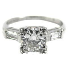 0.91 Carat Old European Cut Diamond Platinum Engagement Ring
