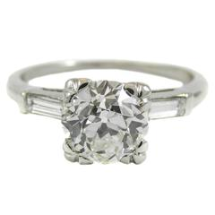 GIA Certified 1.37 Carat Old European Cut Diamond Platinum Engagement Ring