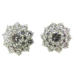 Diamond Platinum Flower Cluster Earrings