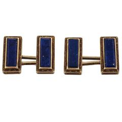 1920s Natural Lapis Lazuli Engraved Gold Oblong Cufflinks