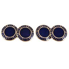 Bulgari Blue Enamel Gold Heavy Cufflinks
