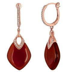 Red Agate and Diamond Dangle Gold Earrings