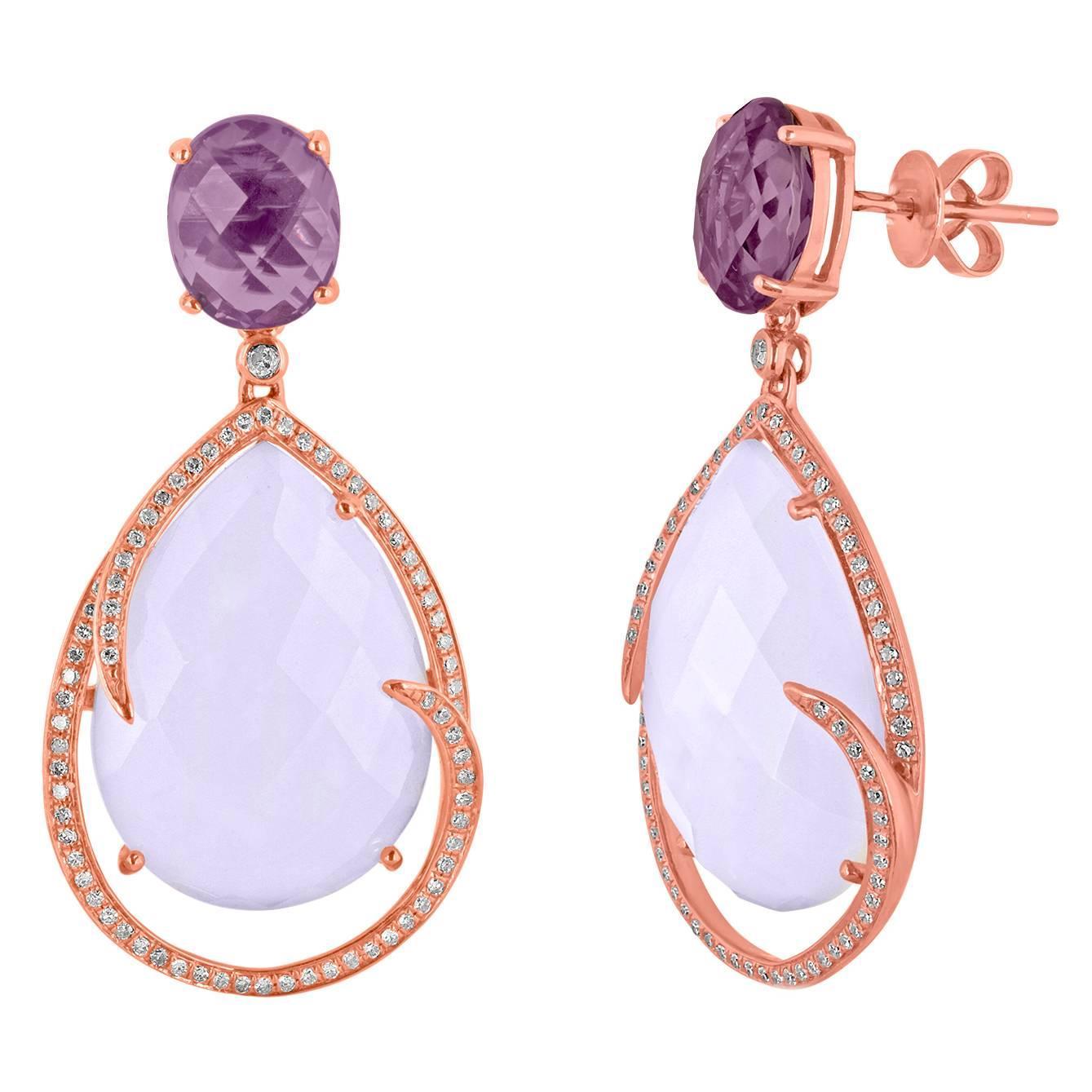 26.63 Carats Chalcedony and Amethyst Diamond Earrings