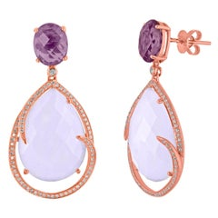 26.63 Carats Chalcedony and Amethyst Diamond Earrings