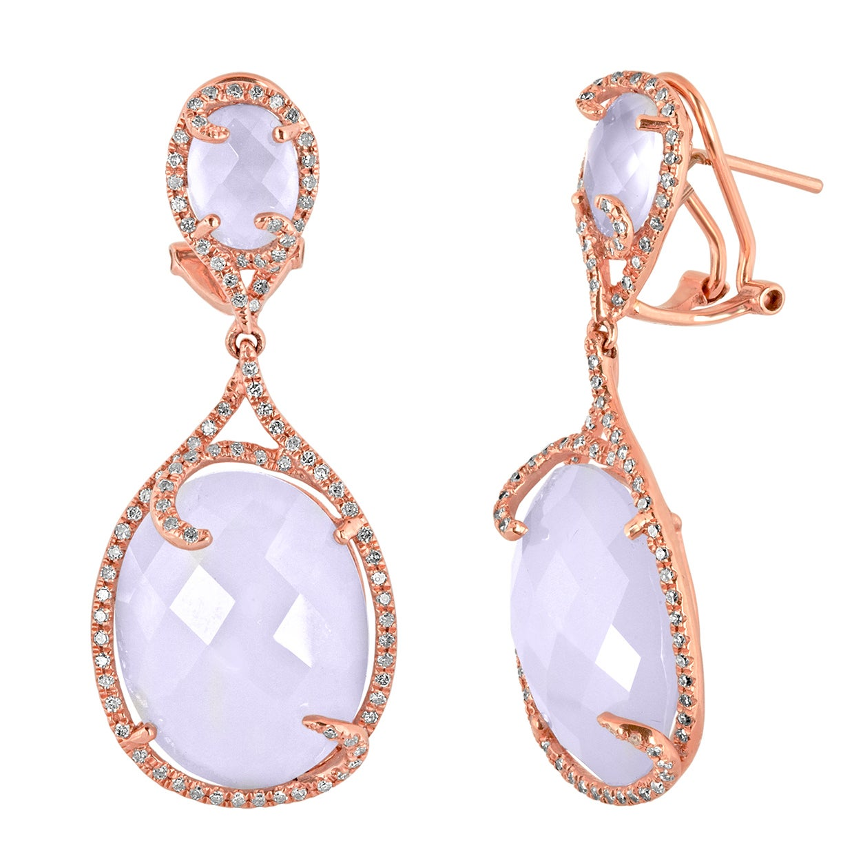 25.71 Carats Chalcedony and Diamond Gold Earrings