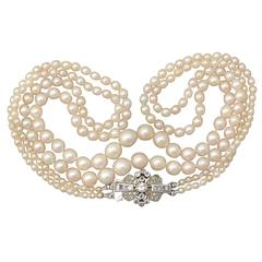 Double Strand Pearl Necklace with 0.55Ct Diamond, White Gold Clasp - Antique