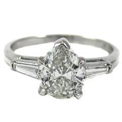 GIA Certified 1 Carat Pear Shape Diamond Platinum Ring