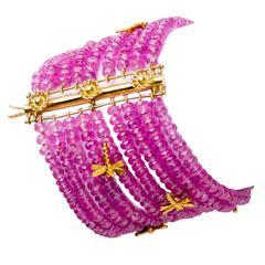 Valentine's Day Pink Sapphire Gold Multi-Strand Bracelet