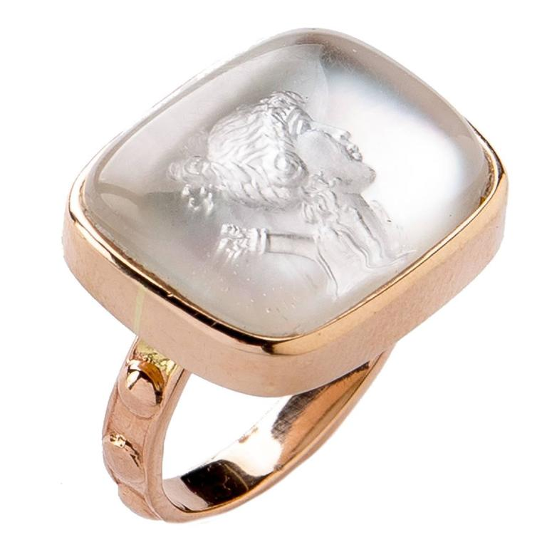 Diana Crystal Intaglio Gold Ring