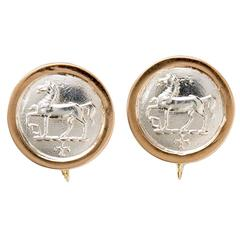 Silver Gold Horse Coin Earrings