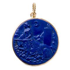 Renaissance Lapis Lazuli Gold Pendant of Innocence and Unicorn