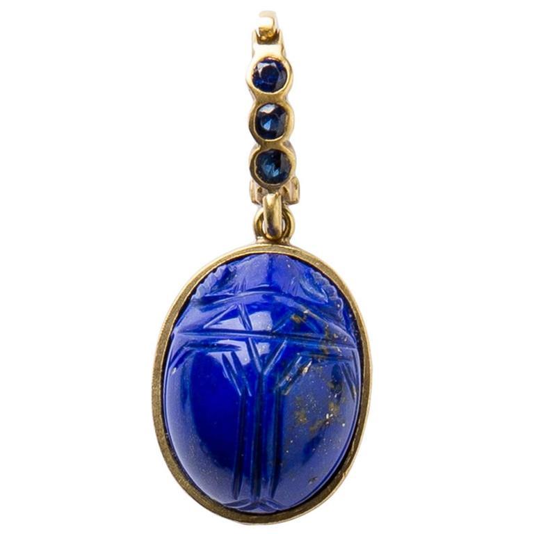 Lapis Lazuli Gold Scarab Pendant At 1stdibs