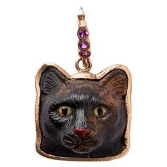 Mahogany Obsidian Cat's Head Pendant