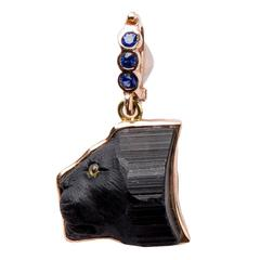 Black Tourmaline Sapphire Gold Lion's Head Pendant