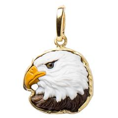 Hand Carved Bald Eagle Head Pendant